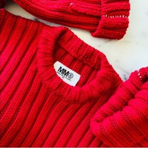 MM6 Maison Margiela red crop rubbed sweater